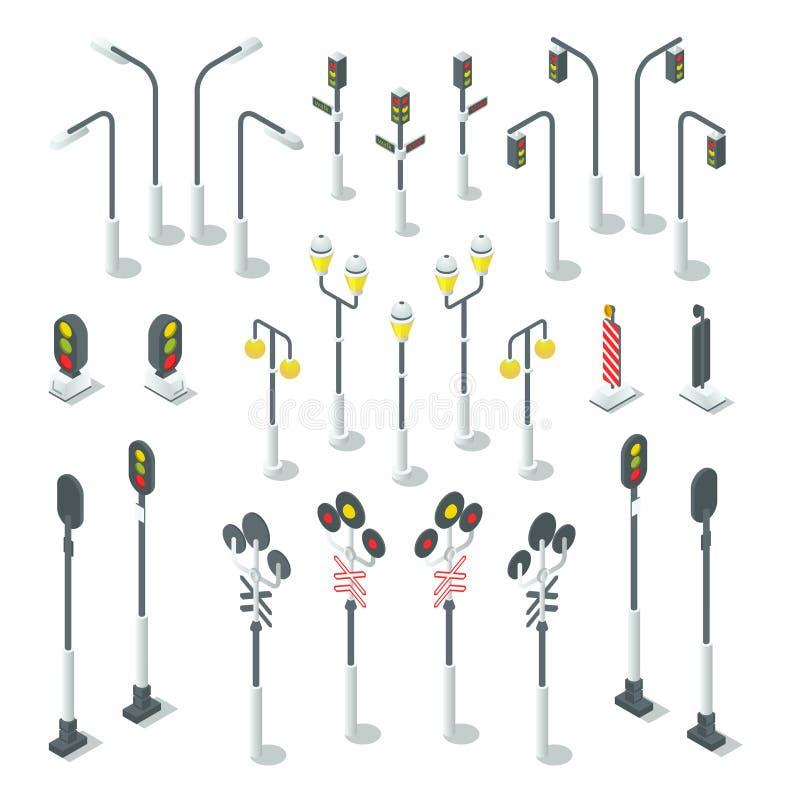 Semáforo isométrico, lámparas de calle Ilustración urbana del vector stock de ilustración