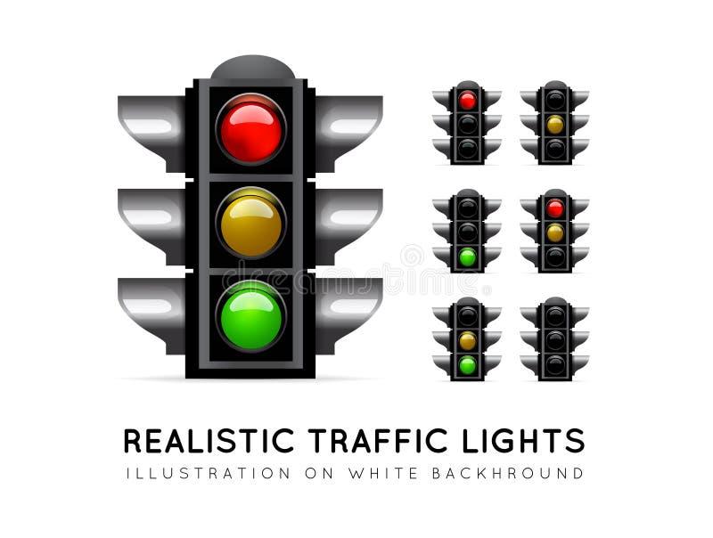 Semáforo realista en un fondo blanco, en diversas variaciones del color Vector de la luz de parada libre illustration