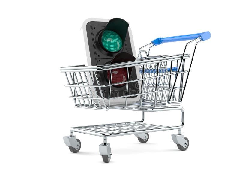 Semáforo verde dentro del carro de la compra libre illustration