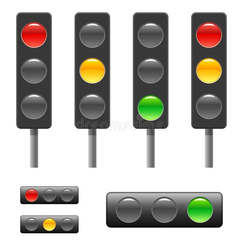 Semáforo y barra de estatus ilustración del vector