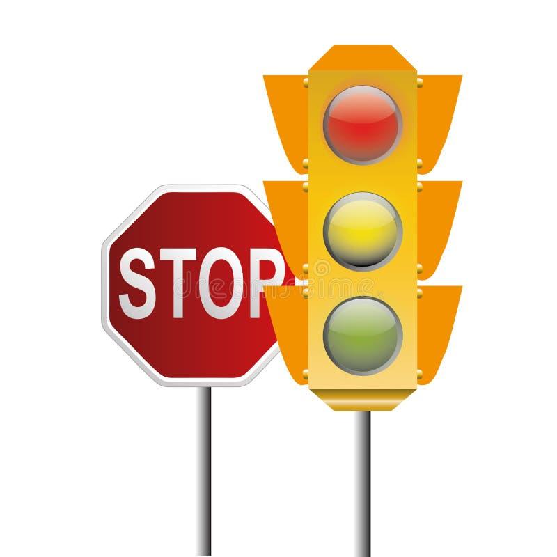 Semáforo y señal de parada ilustración del vector