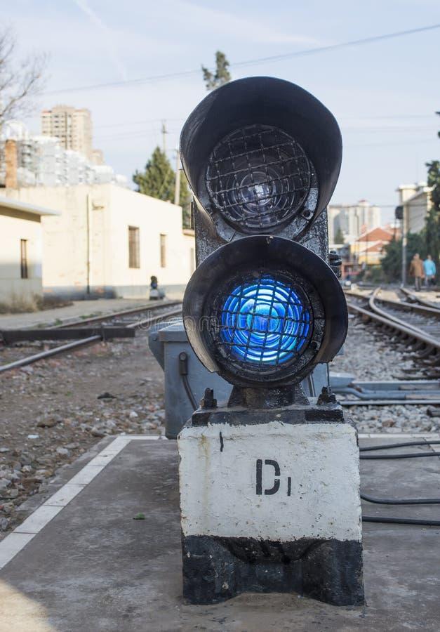 Semáforos ferroviarios imagenes de archivo