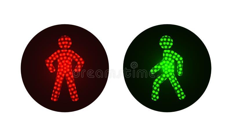 Semáforos peatonales rojos y verdes ilustración del vector