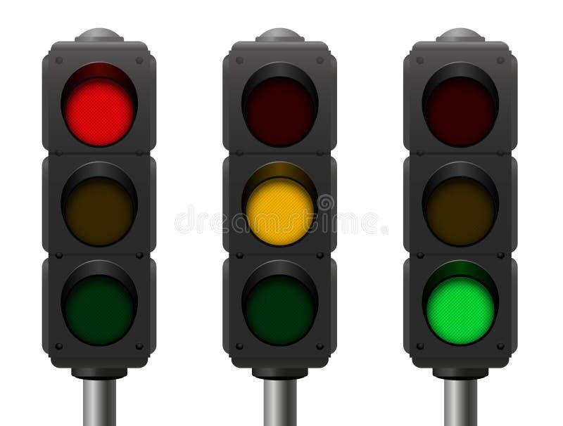 Semáforos tres diversas señales stock de ilustración
