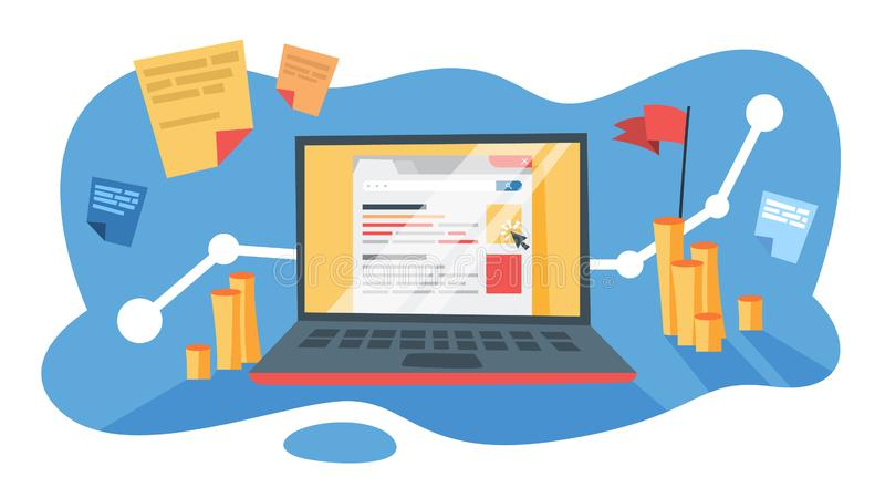 SEM企业促进的搜索引擎营销 皇族释放例证