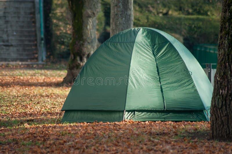 Sem abrigo na barraca do iglu no parque urbano imagens de stock
