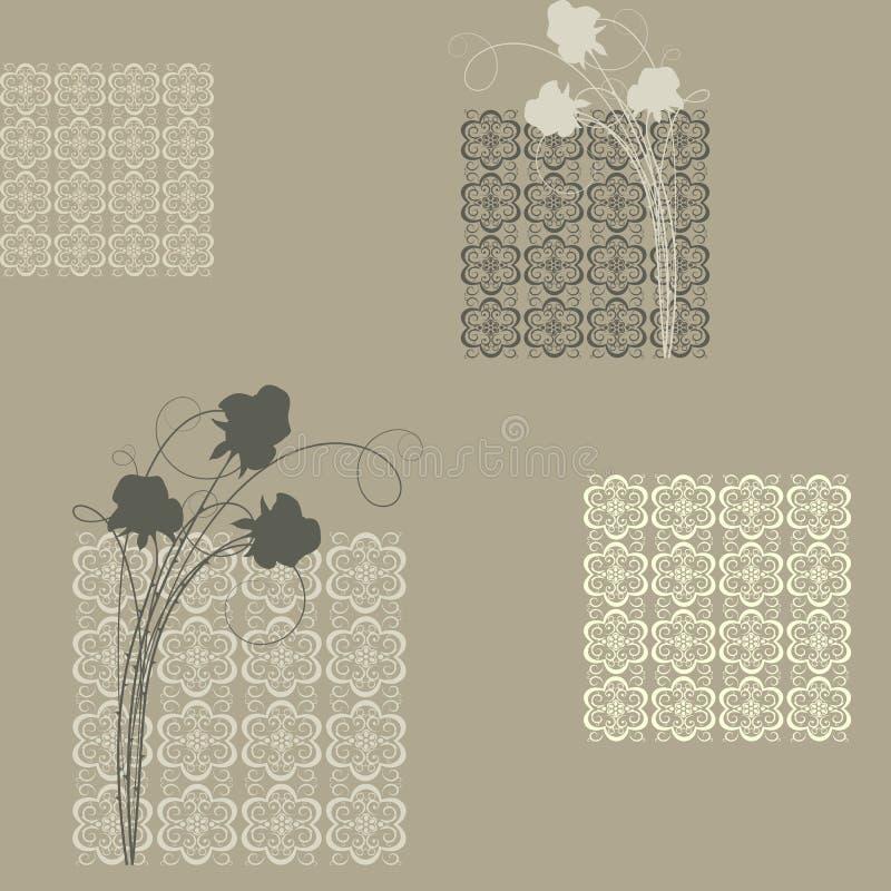 Sem emenda com quadrados e rosas ilustração do vetor