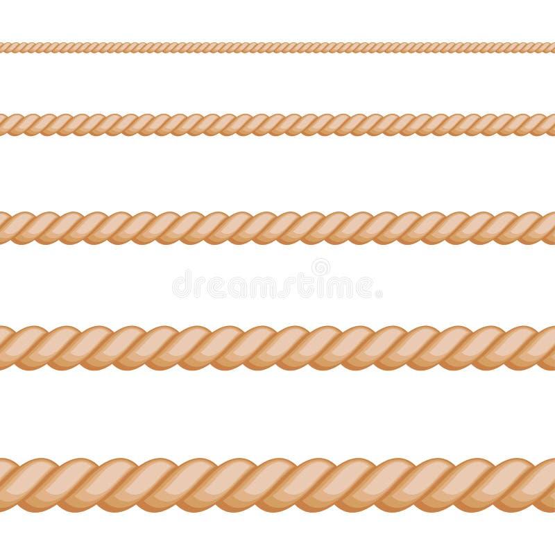 Sem emenda da corda marrom no fundo branco ilustração stock