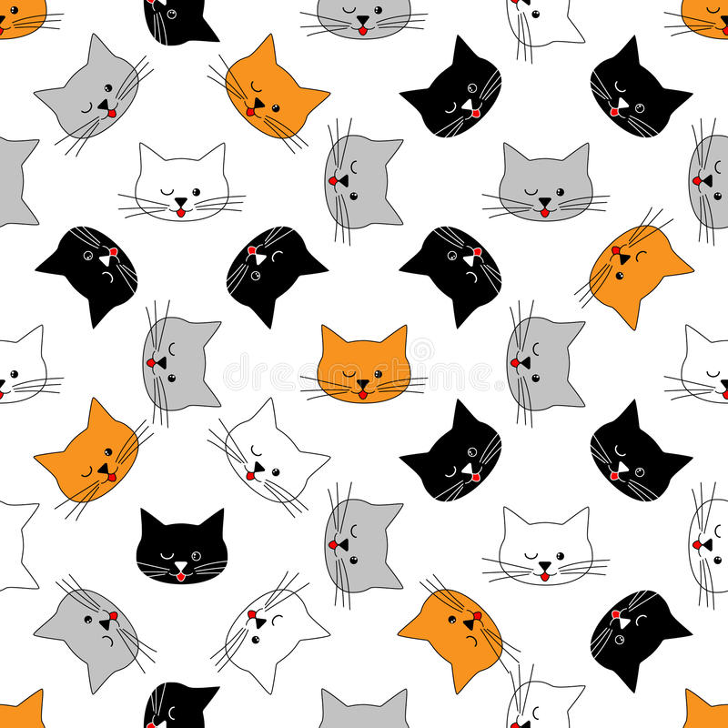 Sem emenda das caras do gato ilustração stock