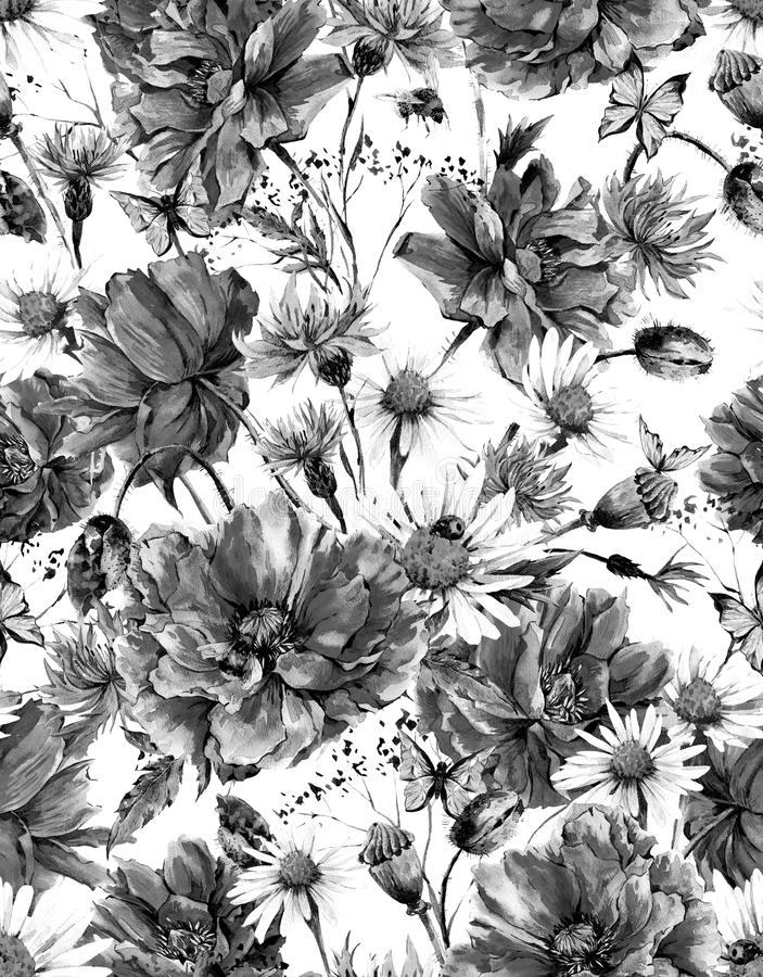 Sem emenda floral do vintage monocromático da aquarela ilustração stock