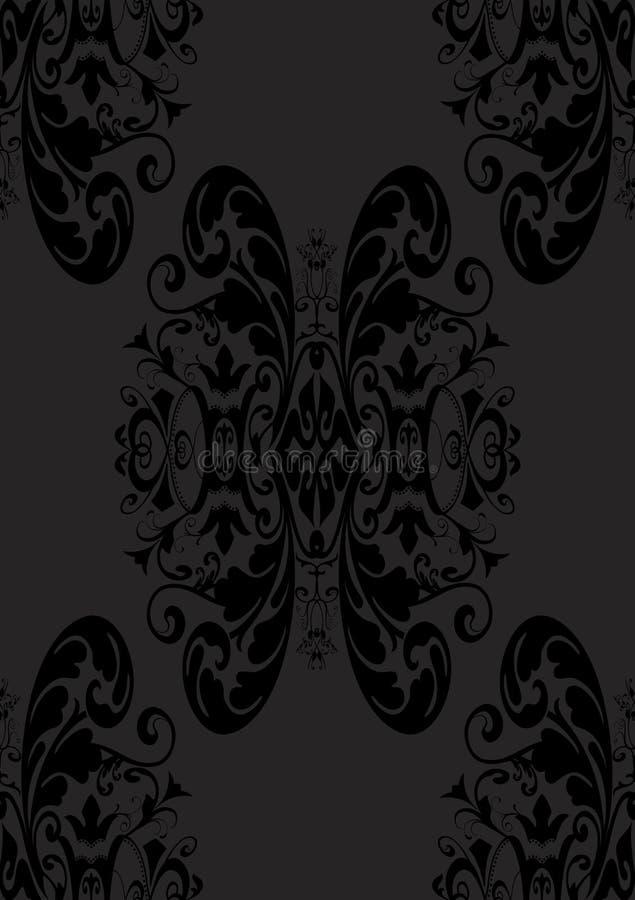 Sem emenda gótico subtil no preto ilustração stock