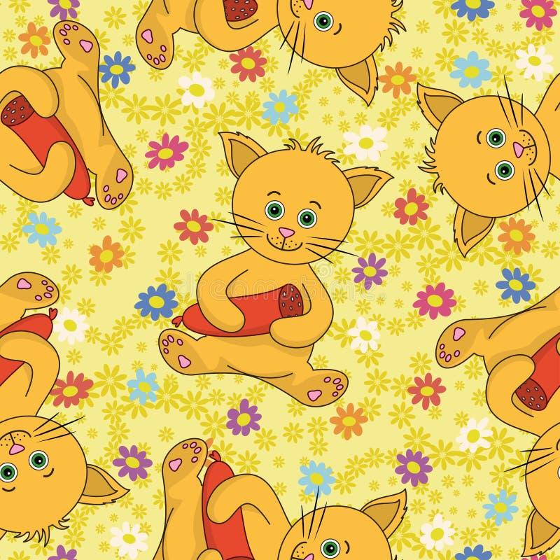 Sem emenda, gato dos desenhos animados com salsicha ilustração royalty free
