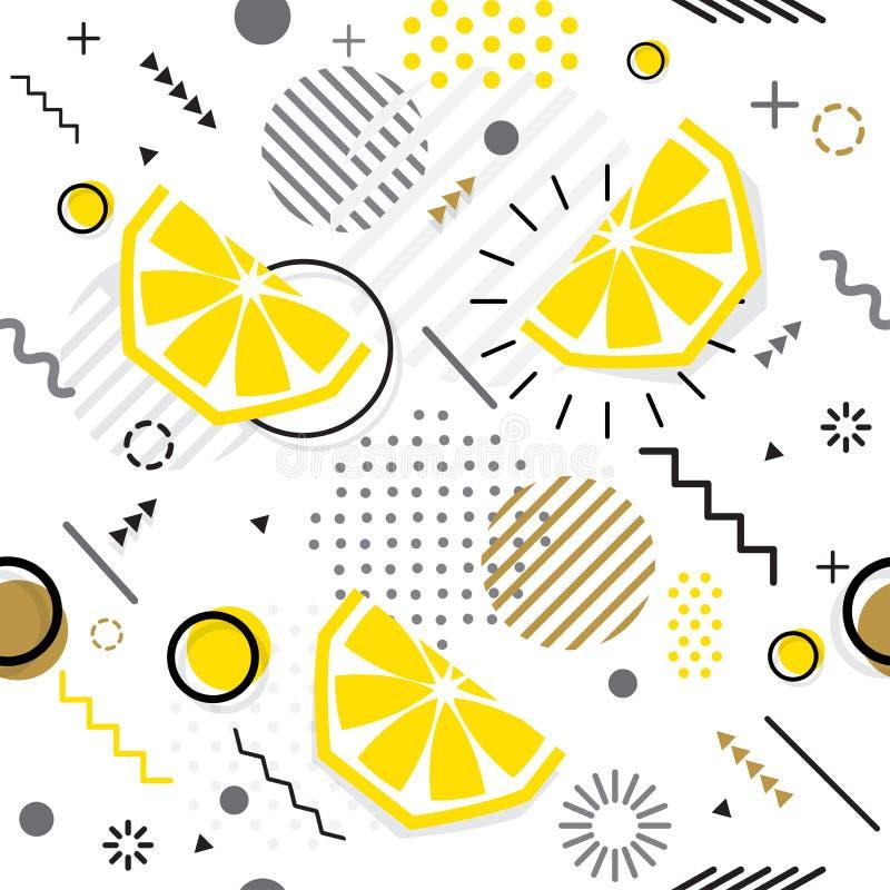 Sem emenda na moda, teste padrão geométrico do limão do estilo de Memphis, vetor ilustração do vetor