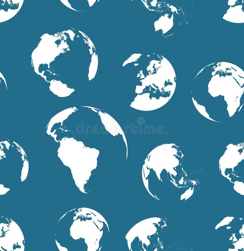Sem emenda nenhum teste padrão dos globos dos contornos Cor dos azuis marinhos ilustração royalty free