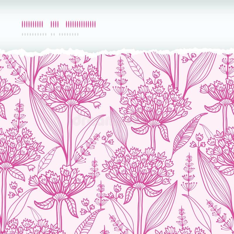 Sem emenda rasgado horizontal do lineart cor-de-rosa dos lillies ilustração do vetor