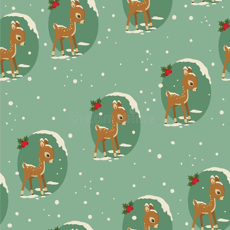 Sem emenda retro dos cervos do bebê do inverno ilustração stock