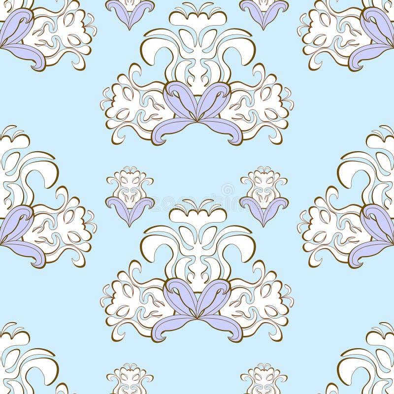 Sem emenda roxo do teste padrão floral azul Ilustração do vetor ilustração royalty free