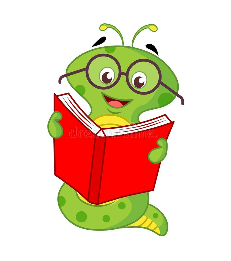 Sem-fim de livro Livro de leitura do sem-fim dos desenhos animados ilustração royalty free
