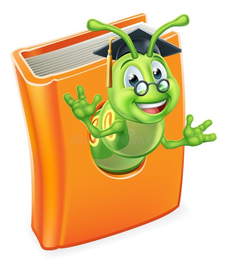 Sem-fim graduado de Caterpillar do leitor ávido no livro ilustração stock