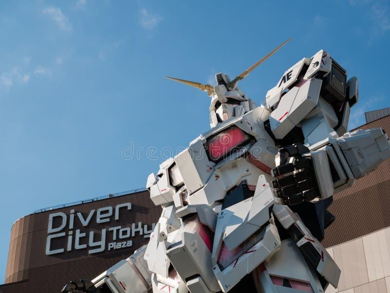 Sem redução de RX-0 Unicorn Gundam no mergulhador City Tokyo Plaza no Od foto de stock royalty free