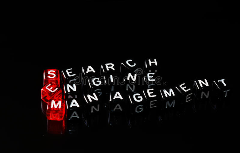 SEM Search Engine Management-zwarte Stock Foto
