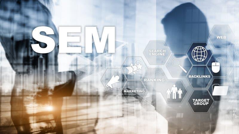 SEM Search Engine Optimization Marketing die van Bedrijfs Internet van de Verkeerswebsite Technologie Communicatie Concept rangsc stock fotografie