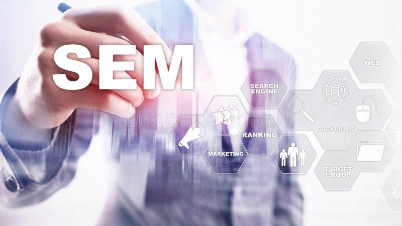 SEM Search Engine Optimization Marketing Ranking Traffic Website Internet Business Technology Communication Concept. royalty free stock photos