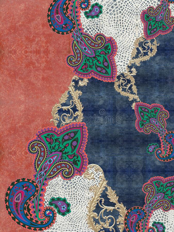 Paisley embroidery colors texture design. Jeans baroque design print woman moda stock photography