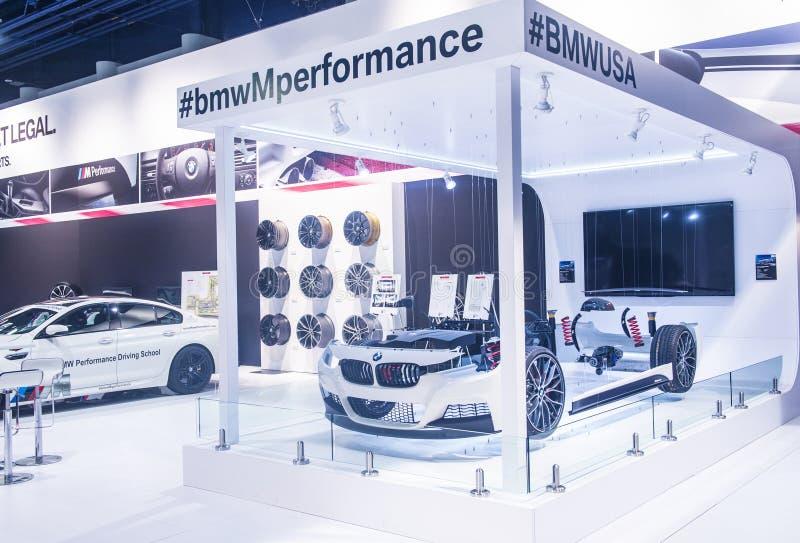 SEMA car show 2014. LAS VEGAS - NOV 07 : The BMW booth at the SEMA Show in Las Vegas, Navada, on November 07, 2014. The SEMA Show is the premier automotive stock photos