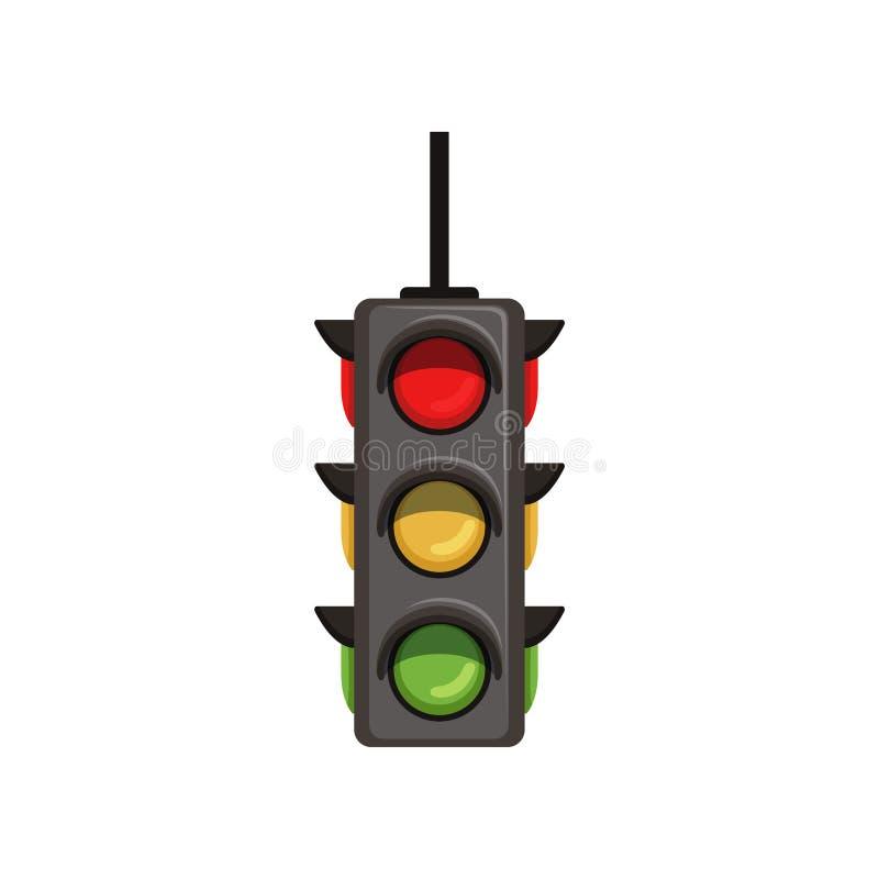 Semafor med vertikal ordning av signaler Plan vektortrafikljus med röda, gula och gröna lampor signal royaltyfri illustrationer