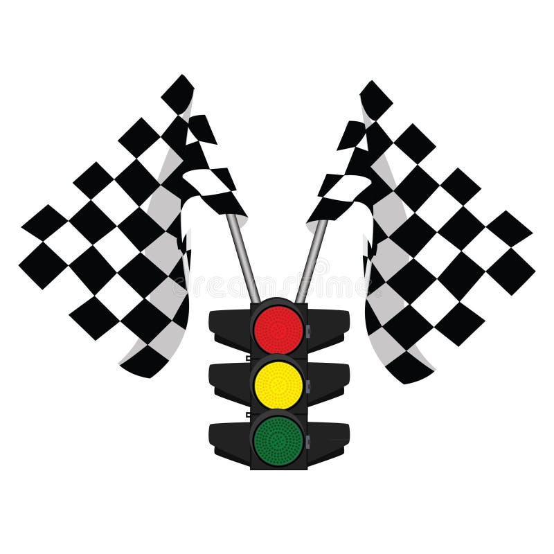 Semafori e rivestimento, bandiera di inizio illustrazione di stock
