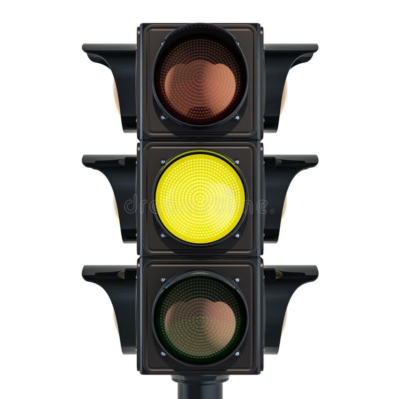 Semaforo con colore giallo, rappresentazione 3D isolata su fondo bianco illustrazione vettoriale