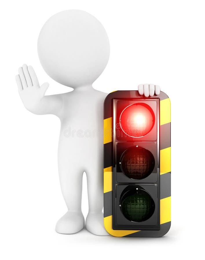 semaforo della gente bianca 3d su rosso illustrazione di stock
