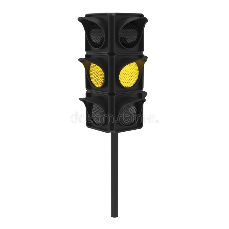 semaforo di giallo dell'illustrazione 3D illustrazione vettoriale