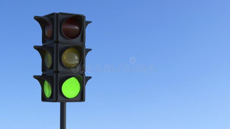 semaforo di verde dell'illustrazione 3D illustrazione vettoriale