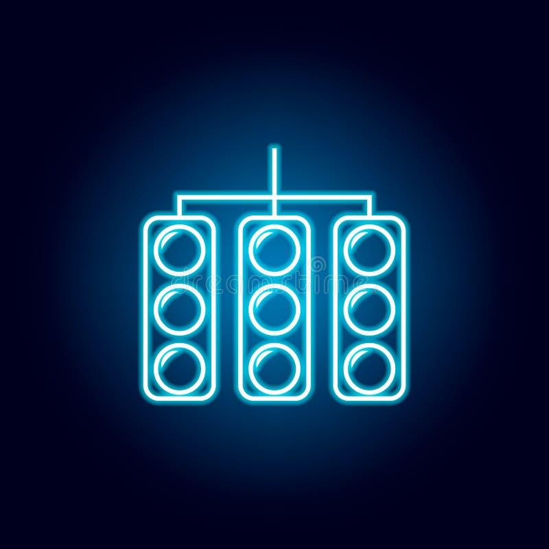 semaforo per la corsa dell'icona nello stile al neon blu Elemento di corsa per il concetto e l'icona mobili dei apps di web Linea royalty illustrazione gratis