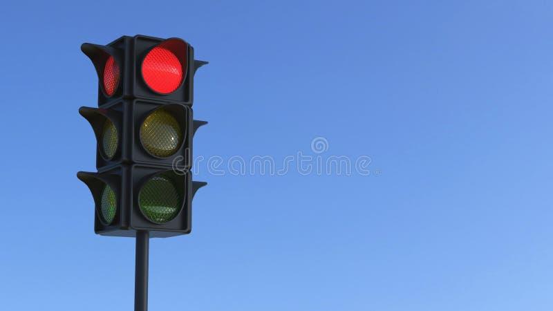 semaforo rosso dell'illustrazione 3D illustrazione di stock