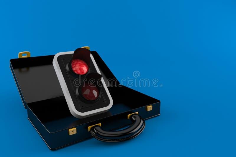 Semaforo rosso dentro la cartella nera illustrazione vettoriale