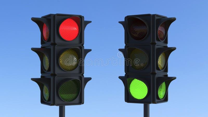 semaforo rosso e verde dell'illustrazione 3D illustrazione vettoriale