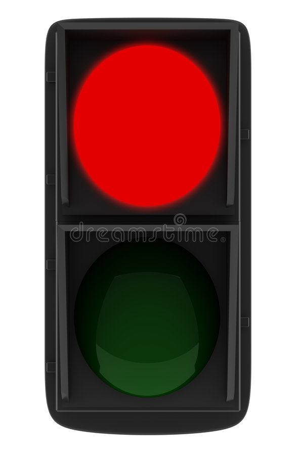 Semaforo rosso isolato su bianco illustrazione di stock