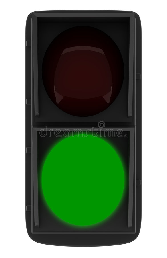 Semaforo verde isolato su bianco illustrazione vettoriale