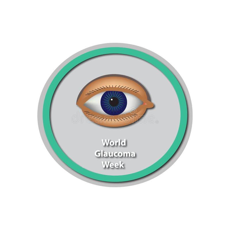 Semaine 6 de glaucome du monde -12 mars Oeil Baner Infographie Illustration de vecteur sur le fond d'isolement illustration stock