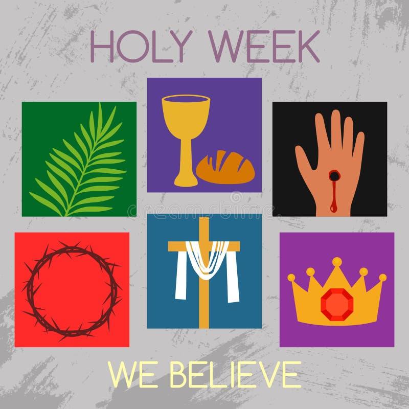 Semaine sainte de bannière chrétienne avec une collection d'icônes au sujet de concept de Jesus Christ The de Pâques et de paume  illustration de vecteur