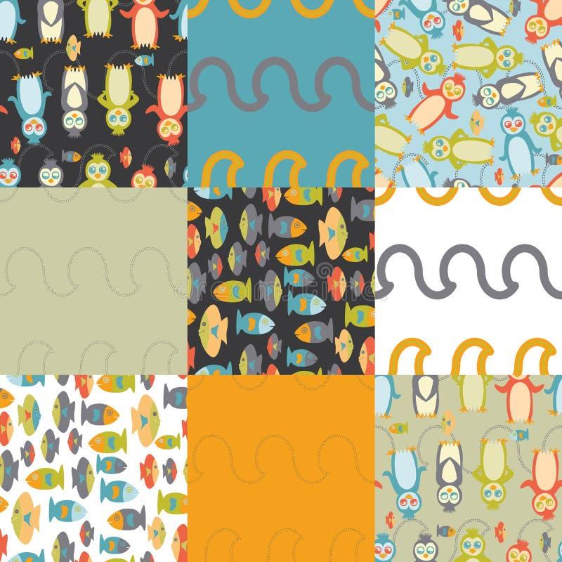 Semaless Muster des Pinguins stockbilder