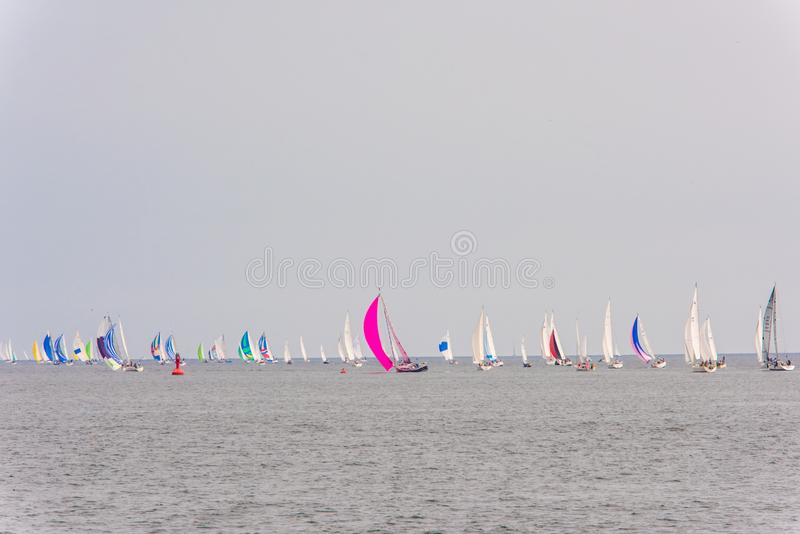 Semana colorida de Kieler do barco de navigação fotos de stock royalty free