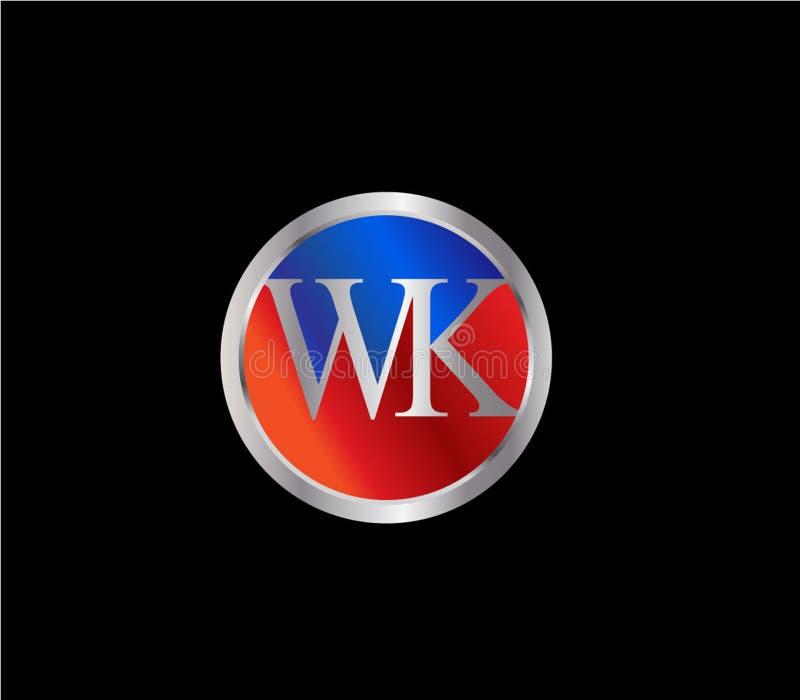 Semana de la forma inicial Logo Design posterior color plata azul rojo del círculo stock de ilustración