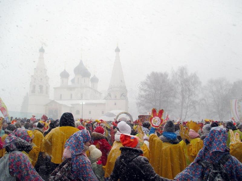 Semana de Puncace em Yaroslavl Dança redonda foto de stock