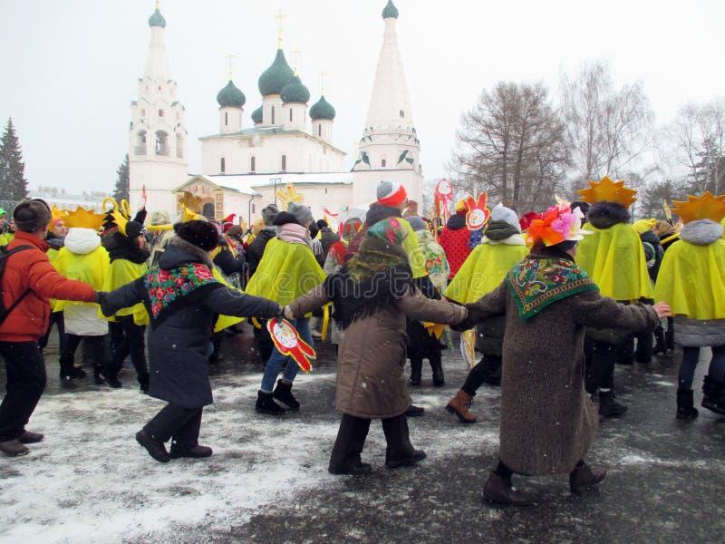 Semana de Puncace em Yaroslavl Dança redonda fotos de stock royalty free