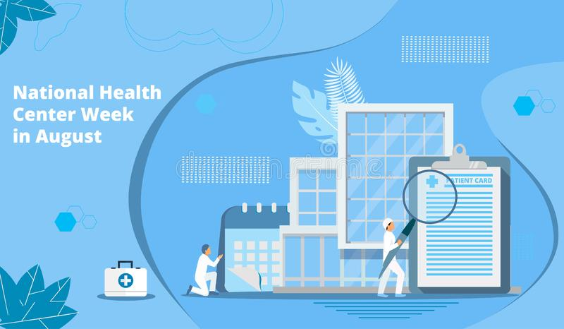 Semana nacional do centro de saúde em August Healthcare, vetor do conceito do centro da clínica ilustração stock