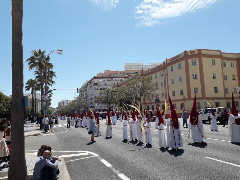 Semana Santa Cadiz, avenidahoofd stock afbeelding